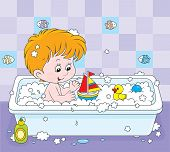 Boy bathing
