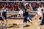 IRVINE, CA - JANUARY 17: Brigham Young University's Phil Fuchs serves in a volleyball match with the