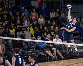 IRVINE, CA - JANUARY 17: Brigham Young University's Josue Rivera serves in a volleyball match with t