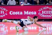 IRVINE, CA - JANUARY 17: Brigham Young University's Jalen Reyes dives for the dig in a volleyball ma