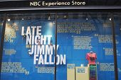 NBC Experience Store window display decorated with Late Night with Jimmy Fallon logo