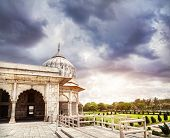 foto of khas  - Khas Mahal with marbles arches and columns at dramatic sky in Red Fort Old Delhi India - JPG