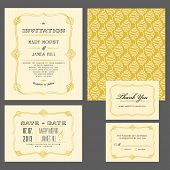 Set of classic wedding invitations and announcements