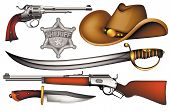 stock photo of saber  - set of cowboy weapons  - JPG