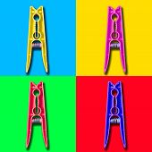 Four colorful psycho clothespin