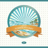 Summer retro background. Vintage seaside view illustration.