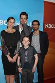LOS ANGELES - JAN 19:  Minnie Driver, David Walton, Al Madrigal, Benjamin Stockham at the NBC TCA Wi
