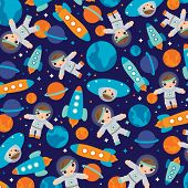 Seamless outer space ufo rocket illustration science kids background pattern in vector