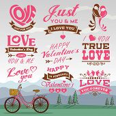 Valentine's day labels, icons elements collection with romantic background 01
