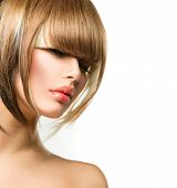 foto of hair cutting  - Beautiful Fashion Woman Hairstyle for Short Hair - JPG