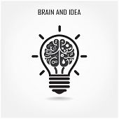 pic of left brain  - Creative brain and light bulb sign  - JPG