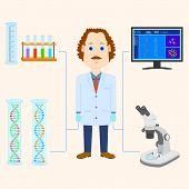 stock photo of physicist  - vector illustration of scientist scientific laboratory equipment - JPG