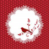 pic of doilies  - Lace Doilie  with bird and background pattern - JPG