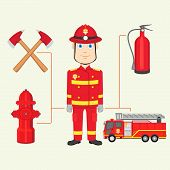 stock photo of fire brigade  - vector illustration of fireman with fire brigade - JPG