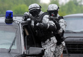 stock photo of smuggling  - Special force soldiers in anti terrorism action - JPG