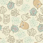 Cute Owls In A Seamless Pattern