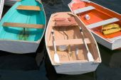 stock photo of dory  - Small dories on pier in Marblehead Ma - JPG