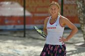 MOSCOW, RUSSIA - JULY 19, 2014: Olga Barabanschikova of Belarus in the match against France during I
