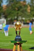MOSCOW, RUSSIA - JULY 21, 2014: Main trophy of the Lev Yashin VTB Cup, the International soccer tour