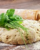 Bread dough with italian herbs