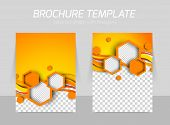 foto of pamphlet  - Brochure with hexagons in orange color for folder and poster design - JPG