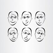 Men Faces Emotions Symbols