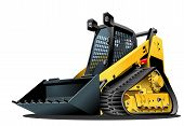 stock photo of skid-steer  - Vector Cartoon Mulcher Tractor - JPG