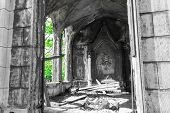 foto of gothic  - The ruins of the Gothic buildings - JPG