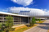 MUNICH, GERMANY - 19 JUNE 2014: Allianz Arena stadium in sunny day in Munich, Germany. The Allianz A