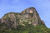 Lime Stone Mountain Against Blue Sky