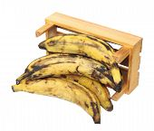 foto of plantain  - over ripe plantain banana in crate isolated on white background - JPG