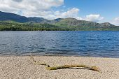 Coniston Water Lake District England uk mountains blue sky and white cloud on beautiful summer day
