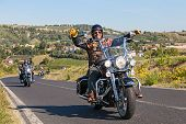 Happy Driver Riding Harley Davidson