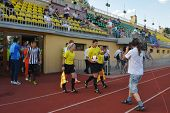 MOSCOW, RUSSIA - JULY 21, 2014: Teams come out on the field before the match Dynamo, Moscow - PAOK,