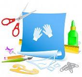 Gauntlets. Paper template. Raster illustration.