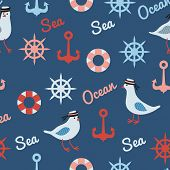 vintage pattern with seagulls anchors and lifebuoys seamless