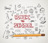 Back to school - set of school doodle illustrations with a pencil