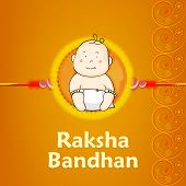 Beautiful rakhi design decorated by a cute little boy illustrations on floral decorated yellow backg