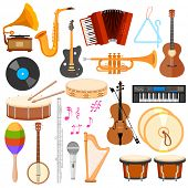 foto of banjo  - illustration of music instrument in flat style - JPG