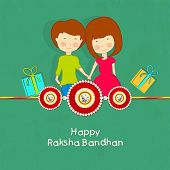 Cute little girl and boy holding hands together with red and golden gift boxes on green background.