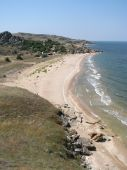 picture of azov  - Sandy beach of Sea of Azov in Crimea. Holiday camp on the uninhabited seaboard