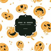 Smiling Halloween pumpkins frame seamless pattern background