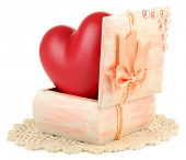 foto of casket  - Heart in wooden casket - JPG