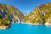 The famous Piva Canyon with its fantastic reservoir. National park Montenegro and Bosnia and Herzego
