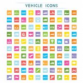 stock photo of dumper  - set of 100 vehicle icons in flat and colorful theme - JPG