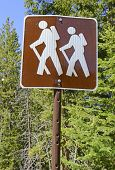 Hiker Crossing sign in the outdoors