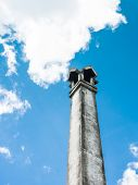stock photo of crematory  - Old chimney of Thai cemetery in temple - JPG