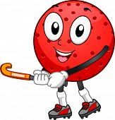 Mascot Illustration Featuring a Field Hockey Ball Holding a Hockey Stick