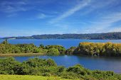 Harmonious lake landscape in Chilean Patagonia. Scenic lake surrounded by beautiful forests