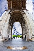 The striking and unexpected angle Arc de Triomphe in Paris.